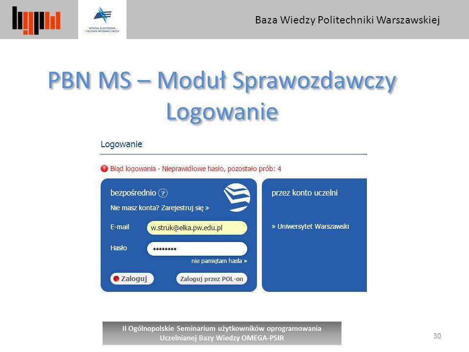 Baza Wiedzy Politechniki Warszawskiej 30 PBN MS – Moduł Sprawozdawczy Logowanie PBN MS – Moduł Sprawozdawczy Logowanie