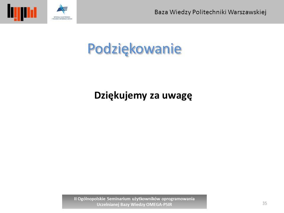 Baza Wiedzy Politechniki Warszawskiej 35 Podziękowanie Dziękujemy za uwagę