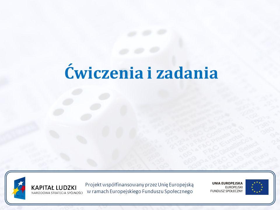 Ćwiczenia i zadania Projekt współfinansowany przez Unię Europejską w ramach Europejskiego Funduszu Społecznego
