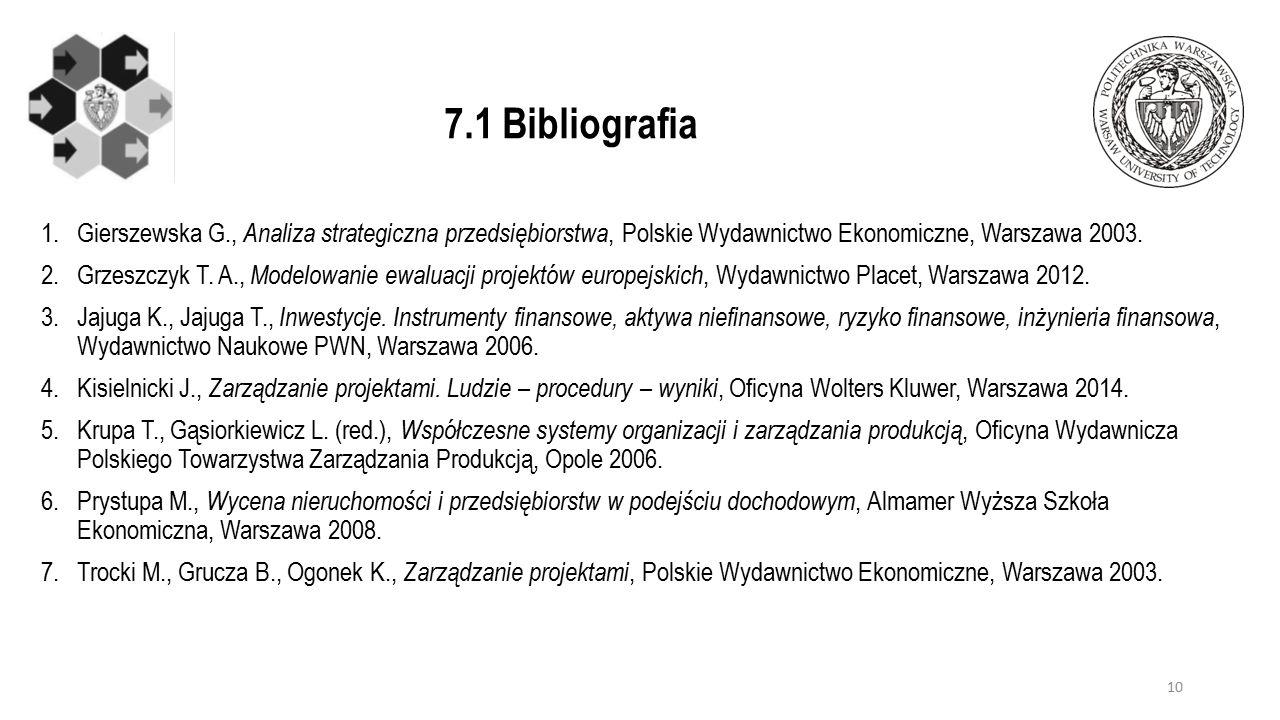7.1 Bibliografia 1.Gierszewska G., Analiza strategiczna przedsiębiorstwa, Polskie Wydawnictwo Ekonomiczne, Warszawa 2003.