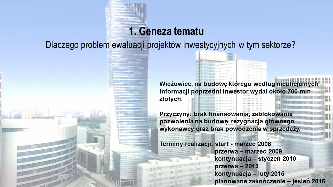 1. Geneza tematu Dlaczego problem ewaluacji projektów inwestycyjnych w tym sektorze? Wieżowiec, na budowę którego według nieoficjalnych informacji pop