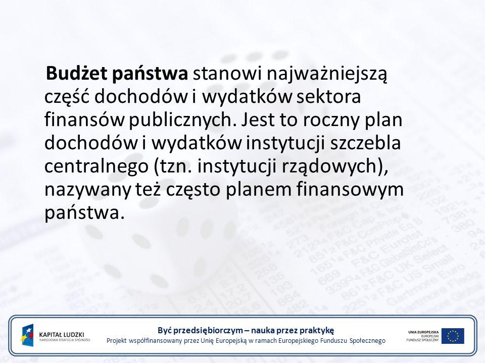 Być przedsiębiorczym – nauka przez praktykę Projekt współfinansowany przez Unię Europejską w ramach Europejskiego Funduszu Społecznego Budżet państwa stanowi najważniejszą część dochodów i wydatków sektora finansów publicznych.