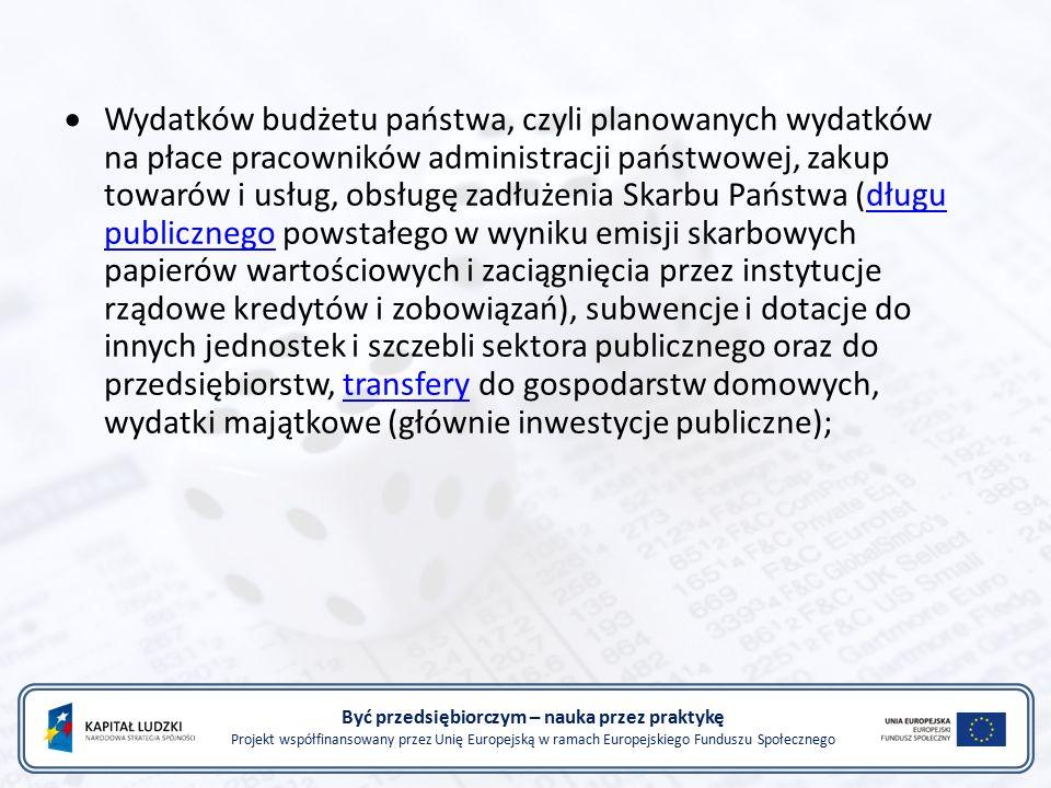 Być przedsiębiorczym – nauka przez praktykę Projekt współfinansowany przez Unię Europejską w ramach Europejskiego Funduszu Społecznego  Wydatków budżetu państwa, czyli planowanych wydatków na płace pracowników administracji państwowej, zakup towarów i usług, obsługę zadłużenia Skarbu Państwa (długu publicznego powstałego w wyniku emisji skarbowych papierów wartościowych i zaciągnięcia przez instytucje rządowe kredytów i zobowiązań), subwencje i dotacje do innych jednostek i szczebli sektora publicznego oraz do przedsiębiorstw, transfery do gospodarstw domowych, wydatki majątkowe (głównie inwestycje publiczne); długu publicznegotransfery