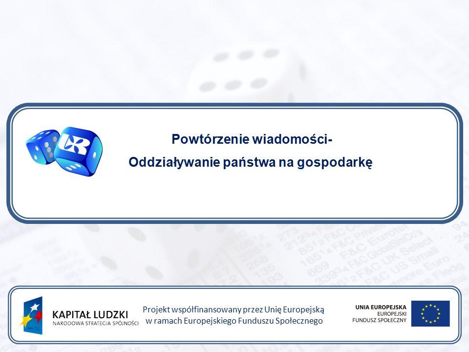 Być przedsiębiorczym – nauka przez praktykę Projekt współfinansowany przez Unię Europejską w ramach Europejskiego Funduszu Społecznego Najbardziej typowe przejawy roli państwa w gospodarce to: rola legislacyjna, czyli tworzenie prawa obowiązującego podmioty gospodarcze oraz regulującego obowiązujące między nimi zasady współdziałania i konkurencji.