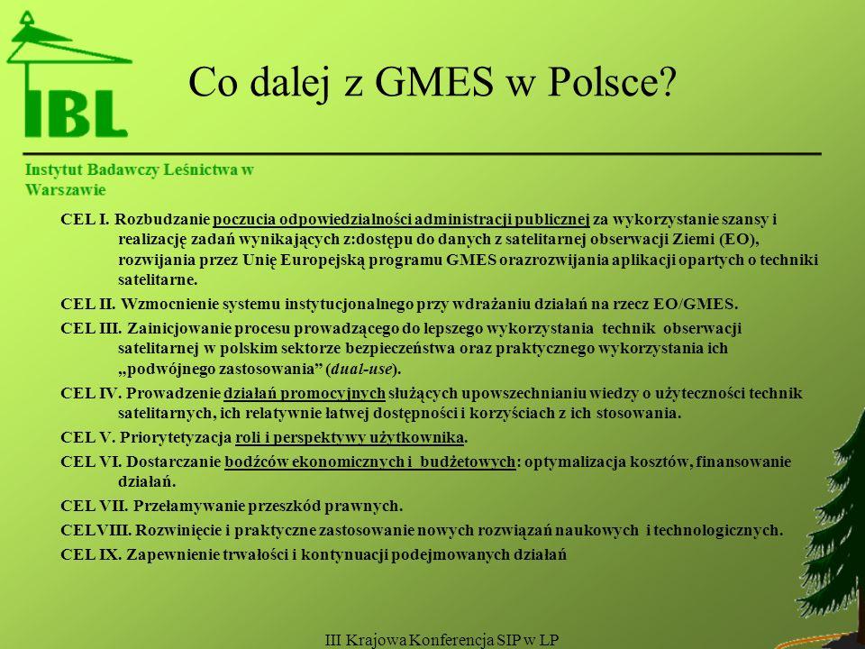 III Krajowa Konferencja SIP w LP Co dalej z GMES w Polsce.