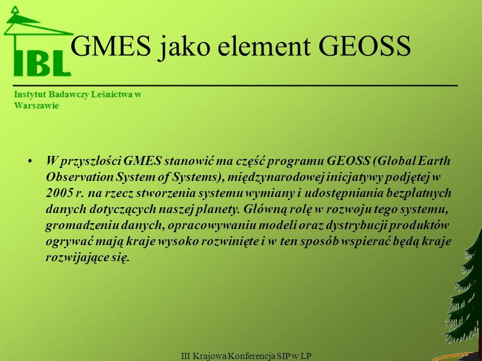 III Krajowa Konferencja SIP w LP GMES jako element GEOSS W przyszłości GMES stanowić ma część programu GEOSS (Global Earth Observation System of Systems), międzynarodowej inicjatywy podjętej w 2005 r.