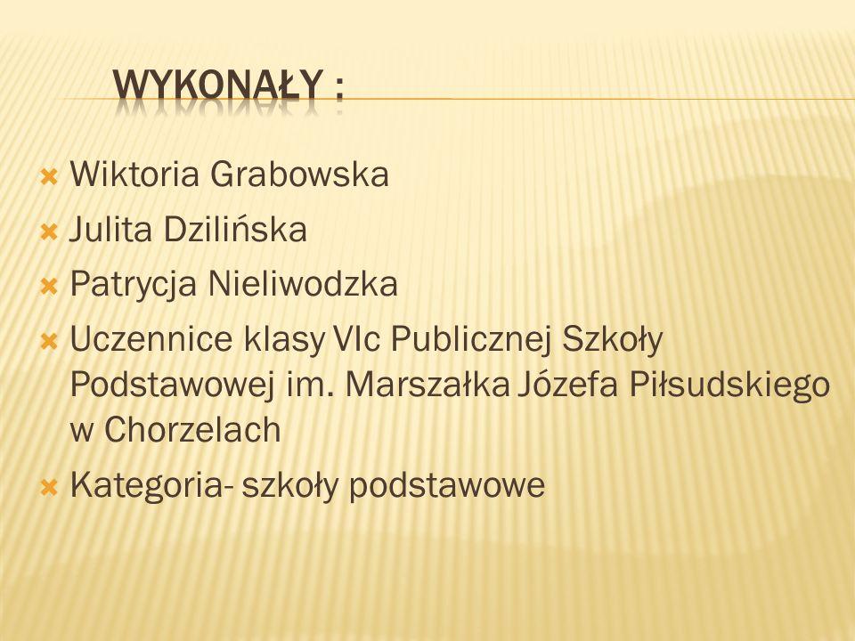  Wiktoria Grabowska  Julita Dzilińska  Patrycja Nieliwodzka  Uczennice klasy VIc Publicznej Szkoły Podstawowej im.
