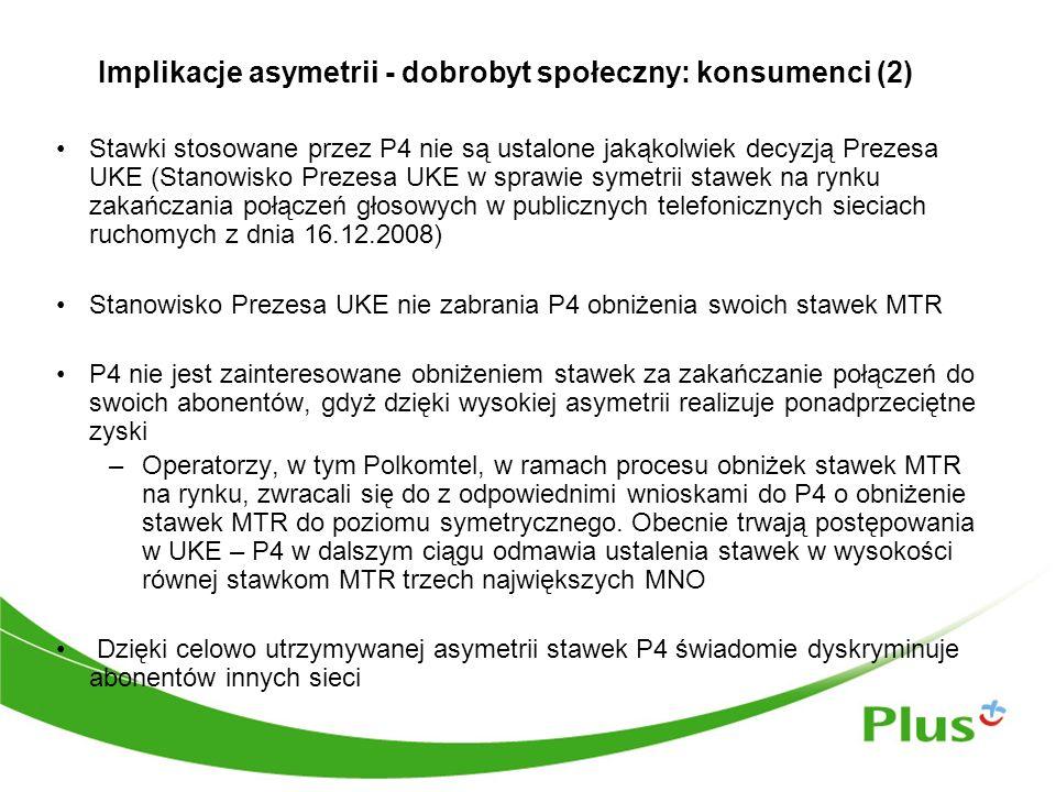Implikacje asymetrii - dobrobyt społeczny: konsumenci (2) Stawki stosowane przez P4 nie są ustalone jakąkolwiek decyzją Prezesa UKE (Stanowisko Prezesa UKE w sprawie symetrii stawek na rynku zakańczania połączeń głosowych w publicznych telefonicznych sieciach ruchomych z dnia 16.12.2008) Stanowisko Prezesa UKE nie zabrania P4 obniżenia swoich stawek MTR P4 nie jest zainteresowane obniżeniem stawek za zakańczanie połączeń do swoich abonentów, gdyż dzięki wysokiej asymetrii realizuje ponadprzeciętne zyski –Operatorzy, w tym Polkomtel, w ramach procesu obniżek stawek MTR na rynku, zwracali się do z odpowiednimi wnioskami do P4 o obniżenie stawek MTR do poziomu symetrycznego.