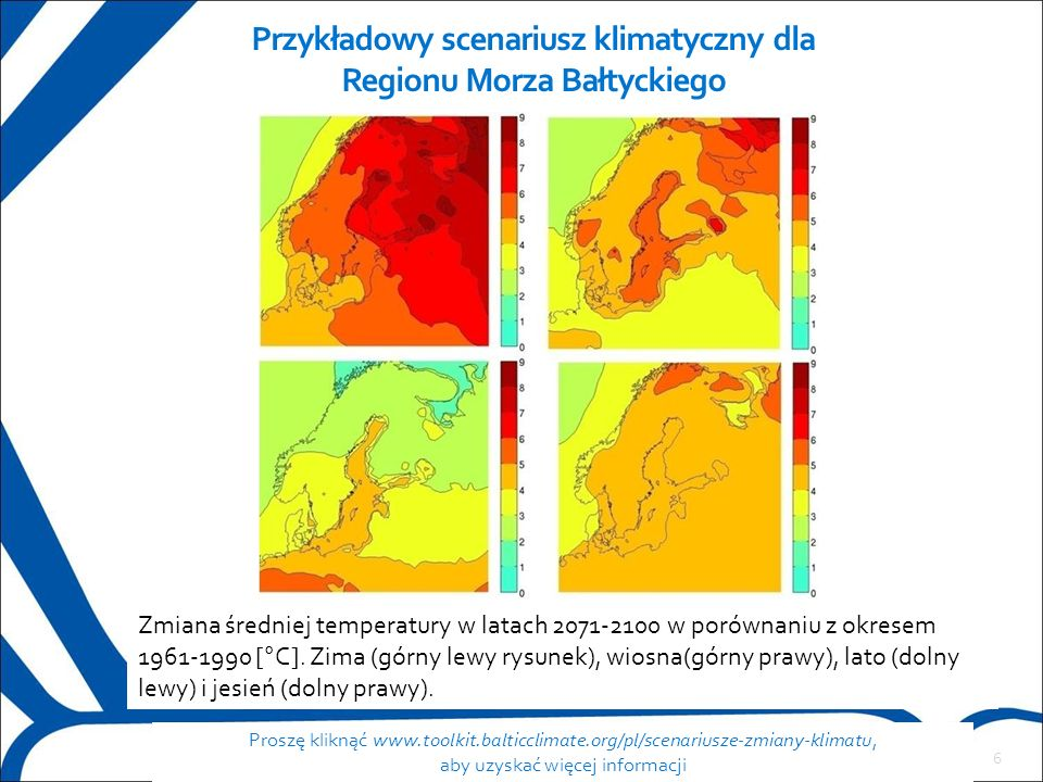 6 Przykładowy scenariusz klimatyczny dla Regionu Morza Bałtyckiego Proszę kliknąć www.toolkit.balticclimate.org/pl/scenariusze-zmiany-klimatu, aby uzyskać więcej informacji Zmiana średniej temperatury w latach 2071-2100 w porównaniu z okresem 1961-1990 [°C].
