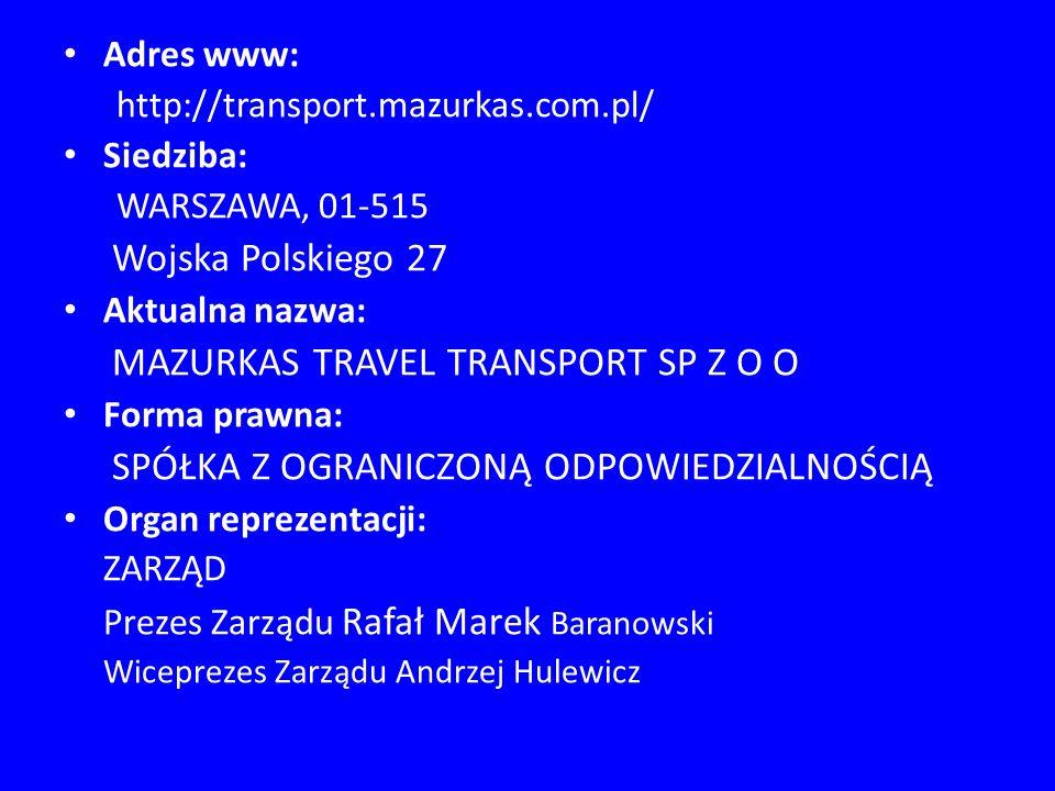 Mazurkas Transport jako jedna z największych firm transportowych w Polsce zajmująca się wynajmem luksusowych autokarów, minibusów oraz limuzyn z kierowcą, od ponad 20 lat (firma powstała w 1990 roku) oferuje swoim klientom komfortową i bezpieczną podróż w kraju i za granicą.