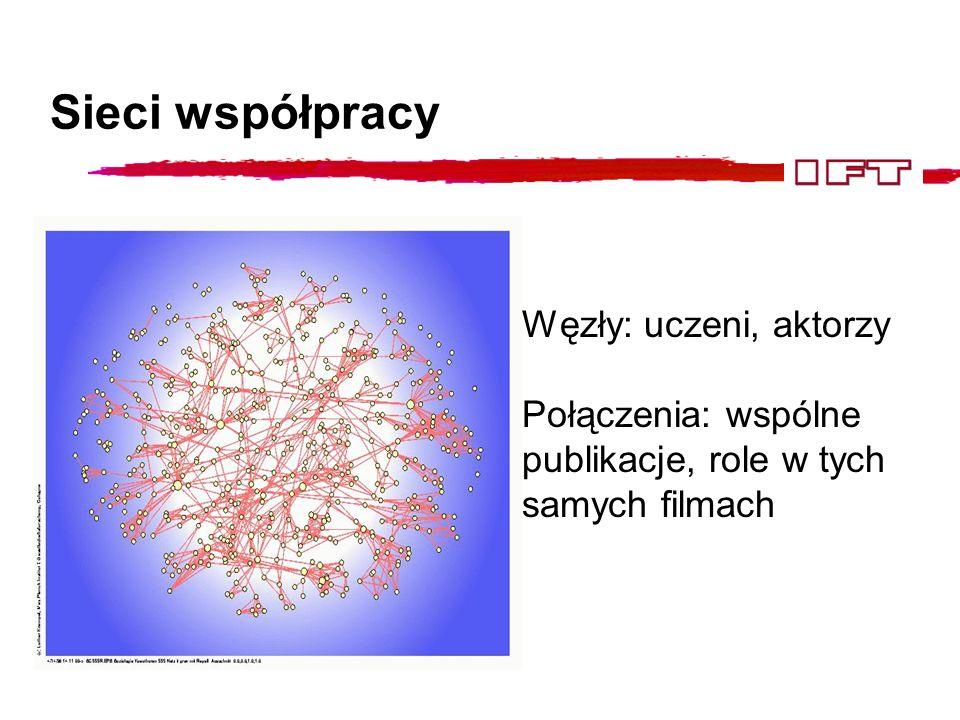 Sieci komunikacji Węzły: komputery, satelity, strony WWW, centrale Połączenia: linie telefoniczne, linie światłowodowe, linki między stronami