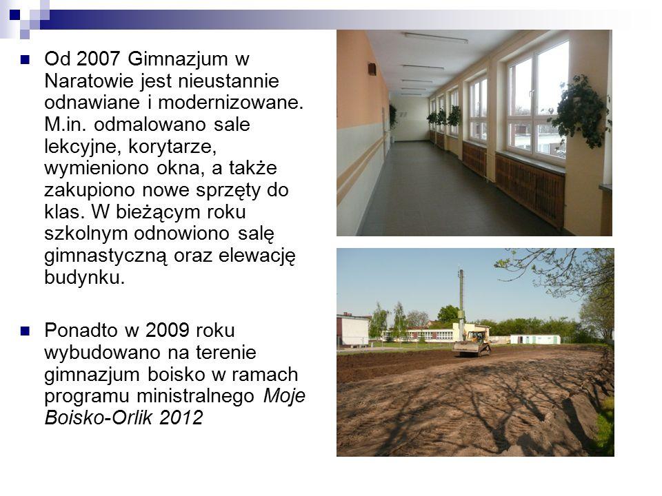 Od 2007 Gimnazjum w Naratowie jest nieustannie odnawiane i modernizowane.