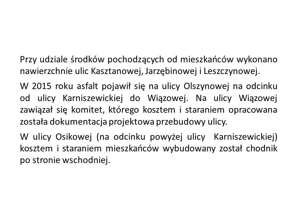 Przy udziale środków pochodzących od mieszkańców wykonano nawierzchnie ulic Kasztanowej, Jarzębinowej i Leszczynowej. W 2015 roku asfalt pojawił się n