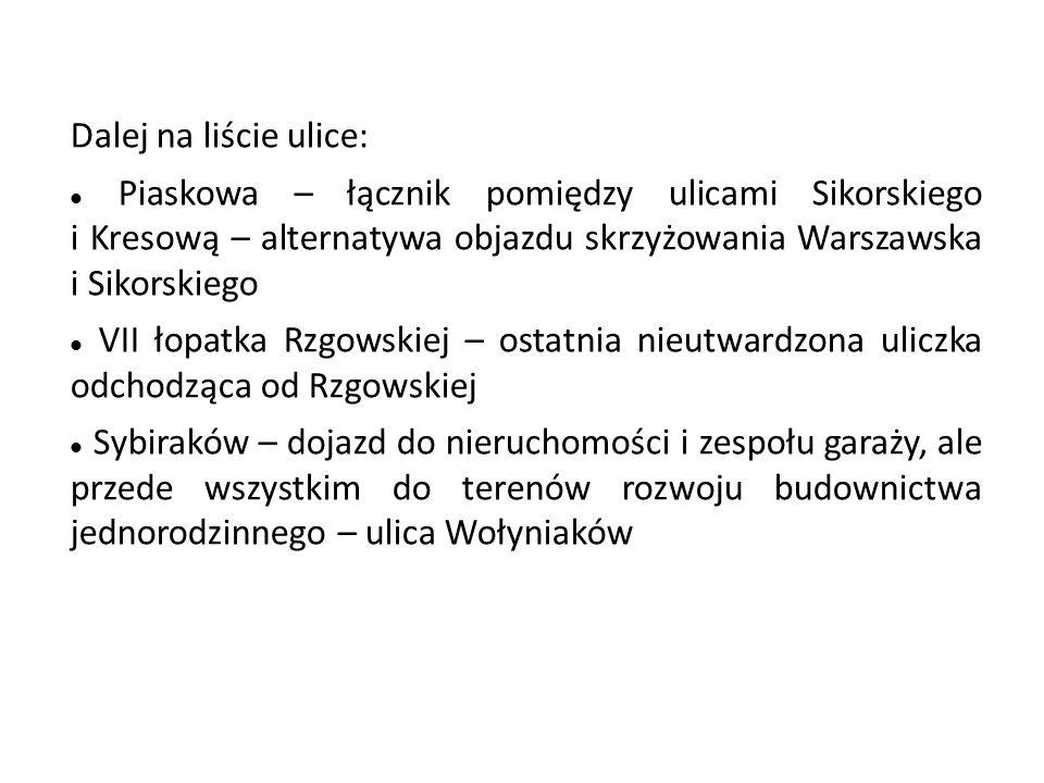 Dalej na liście ulice: Piaskowa – łącznik pomiędzy ulicami Sikorskiego i Kresową – alternatywa objazdu skrzyżowania Warszawska i Sikorskiego VII łopat