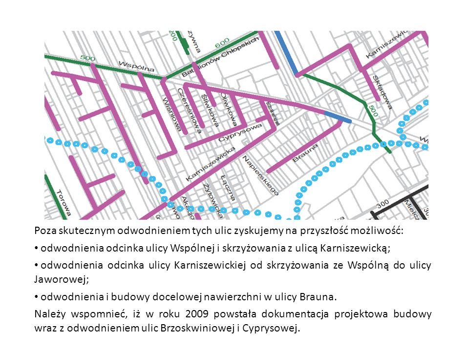 Poza skutecznym odwodnieniem tych ulic zyskujemy na przyszłość możliwość: odwodnienia odcinka ulicy Wspólnej i skrzyżowania z ulicą Karniszewicką; odw