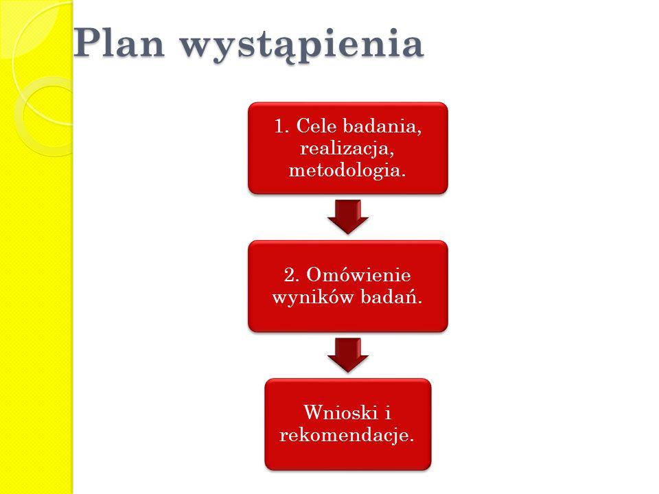 Plan wystąpienia 1. Cele badania, realizacja, metodologia. 2. Omówienie wyników badań. Wnioski i rekomendacje.