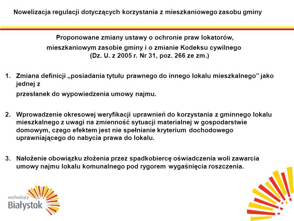 Nowelizacja regulacji dotyczących korzystania z mieszkaniowego zasobu gminy Proponowane zmiany ustawy o ochronie praw lokatorów, mieszkaniowym zasobie gminy i o zmianie Kodeksu cywilnego (Dz.