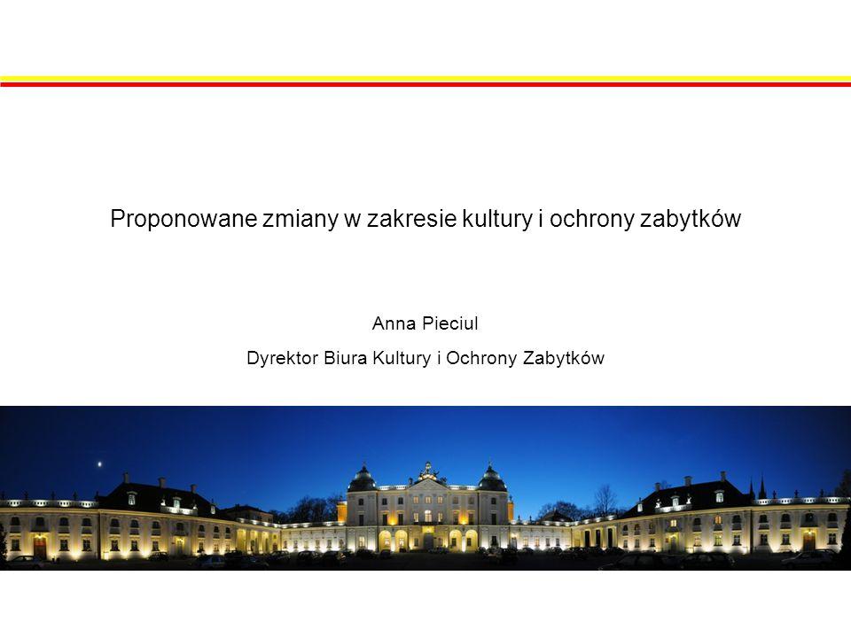 Proponowane zmiany w zakresie kultury i ochrony zabytków Anna Pieciul Dyrektor Biura Kultury i Ochrony Zabytków