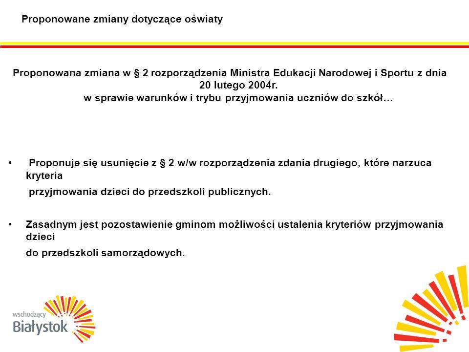 Proponowane zmiany dotyczące oświaty Proponowana zmiana w § 2 rozporządzenia Ministra Edukacji Narodowej i Sportu z dnia 20 lutego 2004r.