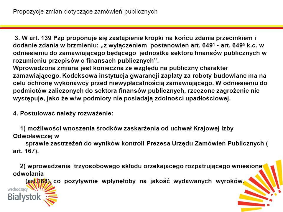 Propozycje zmian dotyczące zamówień publicznych 3.