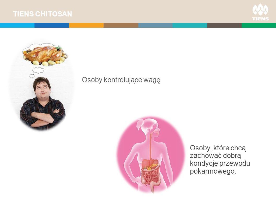 TIENS CHITOSAN PLUS USERS Osoby kontrolujące wagę Osoby, które chcą zachować dobrą kondycję przewodu pokarmowego.