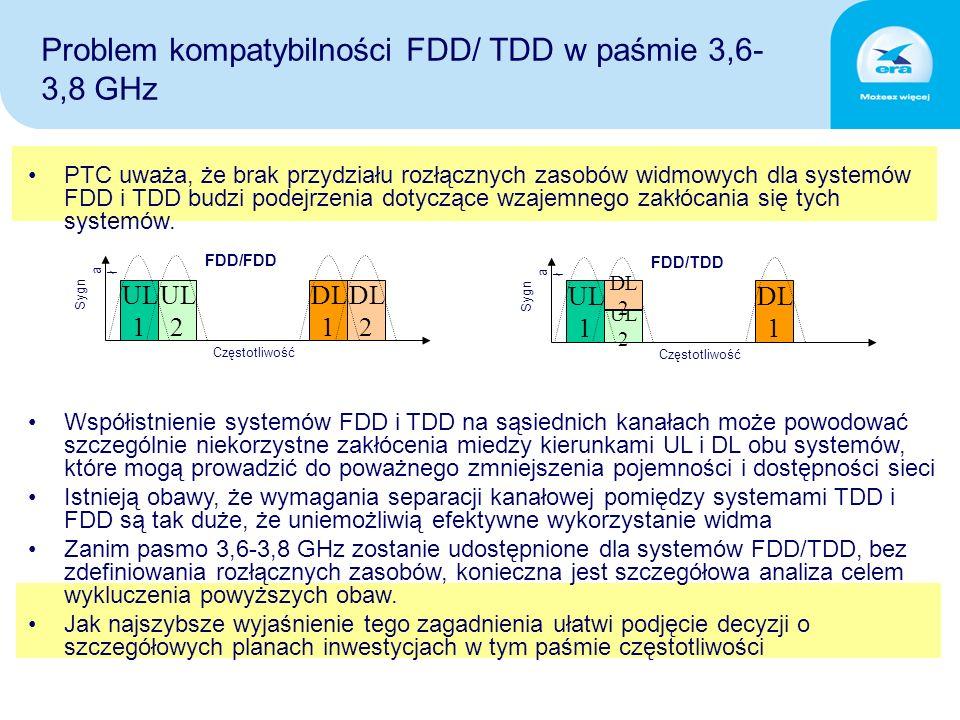 PTC uważa, że brak przydziału rozłącznych zasobów widmowych dla systemów FDD i TDD budzi podejrzenia dotyczące wzajemnego zakłócania się tych systemów.