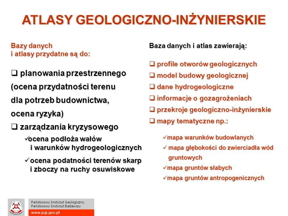 www.pgi.gov.pl Państwowy Instytut Geologiczny Państwowy Instytut Badawczy ATLASY GEOLOGICZNO-INŻYNIERSKIE Bazy danych i atlasy przydatne są do:  planowania przestrzennego (ocena przydatności terenu dla potrzeb budownictwa, ocena ryzyka)  zarządzania kryzysowego Baza danych i atlas zawierają:  profile otworów geologicznych  model budowy geologicznej  dane hydrogeologiczne  informacje o gozagrożeniach  przekroje geologiczno-inżynierskie  mapy tematyczne np.: ocena podłoża wałów i warunków hydrogeologicznych ocena podłoża wałów i warunków hydrogeologicznych ocena podatności terenów skarp i zboczy na ruchy osuwiskowe ocena podatności terenów skarp i zboczy na ruchy osuwiskowe mapa warunków budowlanych mapa warunków budowlanych mapa głębokości do zwierciadła wód gruntowych mapa głębokości do zwierciadła wód gruntowych mapa gruntów słabych mapa gruntów słabych mapa gruntów antropogenicznych mapa gruntów antropogenicznych