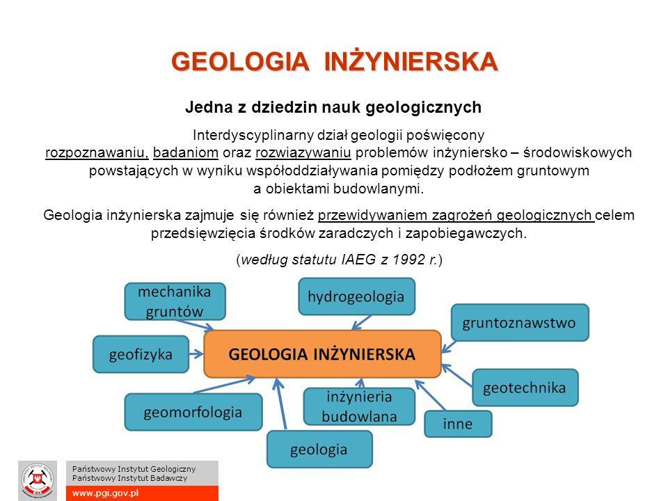 www.pgi.gov.pl Państwowy Instytut Geologiczny Państwowy Instytut Badawczy GEOLOGIA INŻYNIERSKA Interdyscyplinarny dział geologii poświęcony rozpoznawaniu, badaniom oraz rozwiązywaniu problemów inżyniersko – środowiskowych powstających w wyniku współoddziaływania pomiędzy podłożem gruntowym a obiektami budowlanymi.