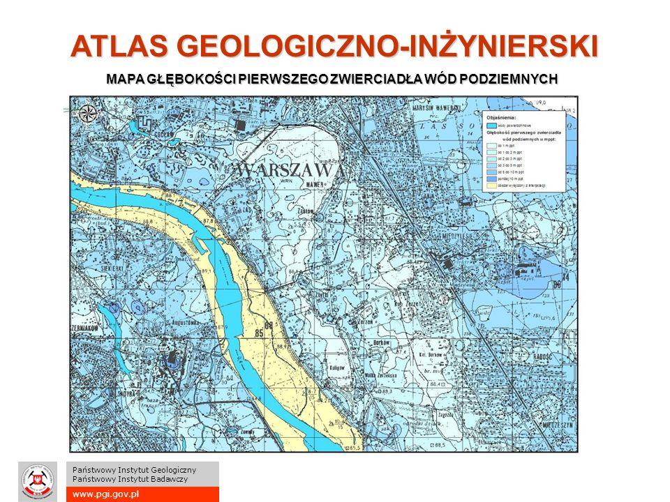 www.pgi.gov.pl Państwowy Instytut Geologiczny Państwowy Instytut Badawczy ATLAS GEOLOGICZNO-INŻYNIERSKI MAPA GŁĘBOKOŚCI PIERWSZEGO ZWIERCIADŁA WÓD PODZIEMNYCH