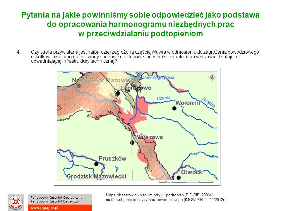 www.pgi.gov.pl Państwowy Instytut Geologiczny Państwowy Instytut Badawczy Pytania na jakie powinniśmy sobie odpowiedzieć jako podstawa do opracowania harmonogramu niezbędnych prac w przeciwdziałaniu podtopieniom 4.Czy strefa przywiślana jest najbardziej zagrożoną częścią Wawra w odniesieniu do zagrożenia powodziowego i skutków jakie mogą nieść wody opadowe i roztopowe, przy braku kanalizacji, i właściwie działającej odwadniającej infrastruktury technicznej.