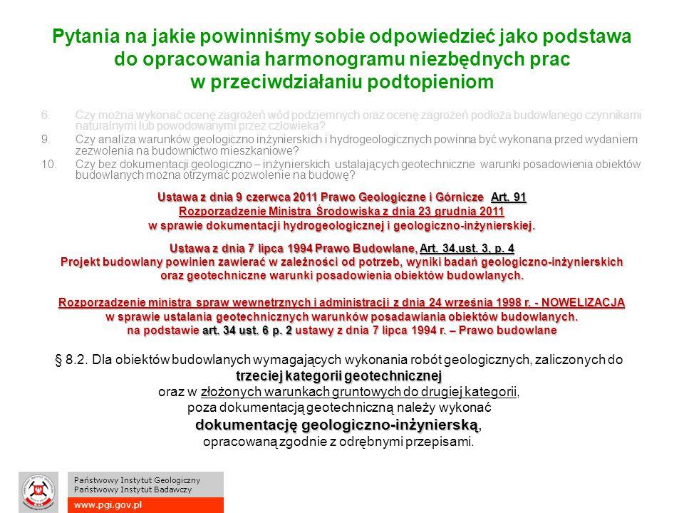 www.pgi.gov.pl Państwowy Instytut Geologiczny Państwowy Instytut Badawczy Pytania na jakie powinniśmy sobie odpowiedzieć jako podstawa do opracowania harmonogramu niezbędnych prac w przeciwdziałaniu podtopieniom 6.Czy można wykonać ocenę zagrożeń wód podziemnych oraz ocenę zagrożeń podłoża budowlanego czynnikami naturalnymi lub powodowanymi przez człowieka.
