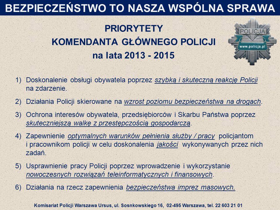 PRIORYTETY KOMENDANTA GŁÓWNEGO POLICJI na lata 2013 - 2015 1)Doskonalenie obsługi obywatela poprzez szybką i skuteczną reakcję Policji na zdarzenie.