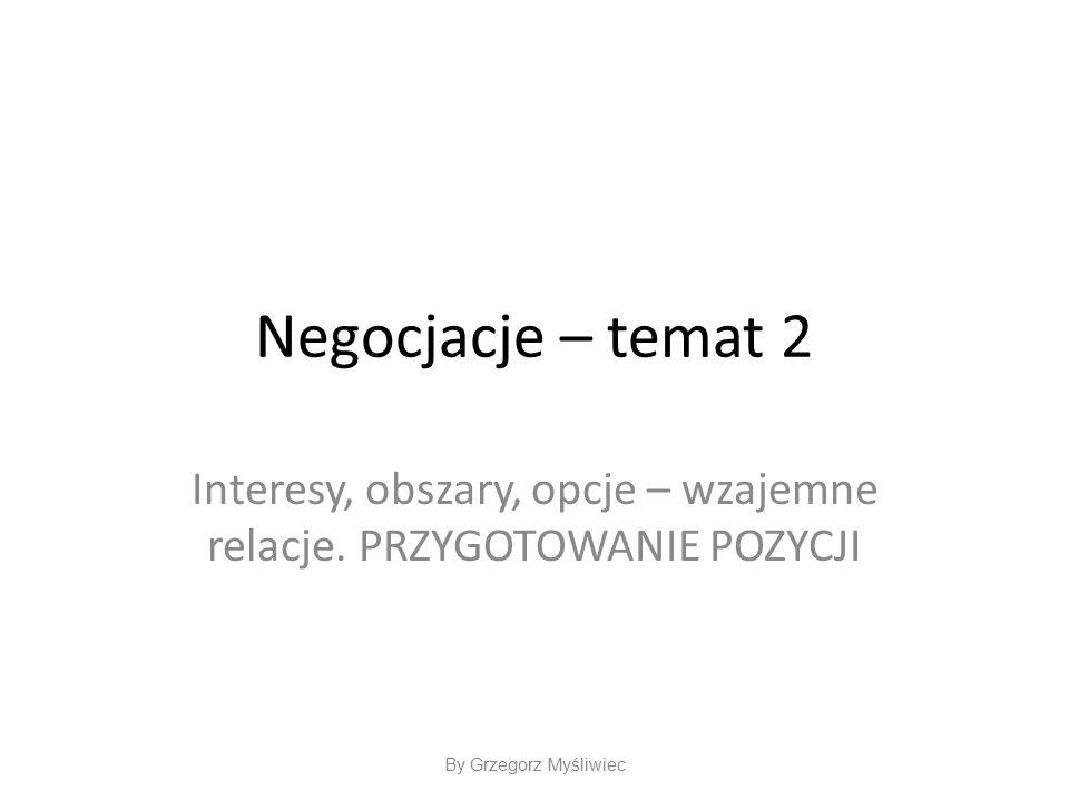 Negocjacje – temat 2 Interesy, obszary, opcje – wzajemne relacje.