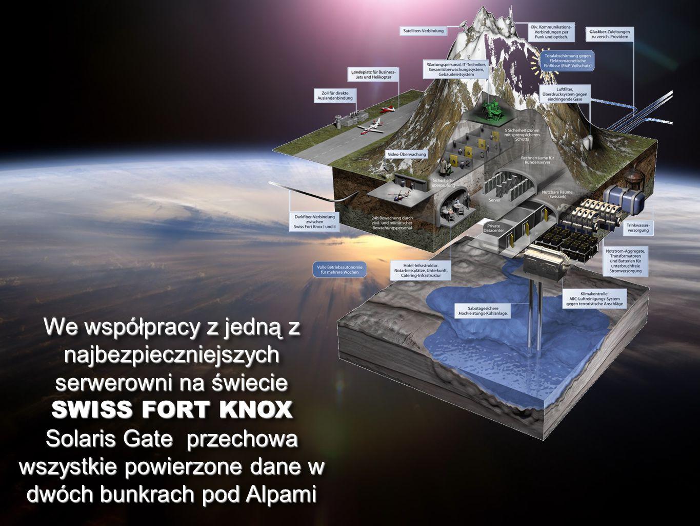 We współpracy z jedną z najbezpieczniejszych serwerowni na świecie SWISS FORT KNOX Solaris Gate przechowa wszystkie powierzone dane w dwóch bunkrach p