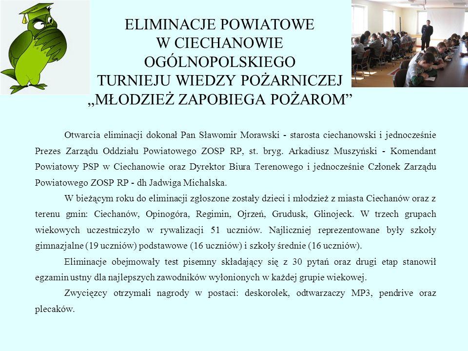 Otwarcia eliminacji dokonał Pan Sławomir Morawski - starosta ciechanowski i jednocześnie Prezes Zarządu Oddziału Powiatowego ZOSP RP, st. bryg. Arkadi