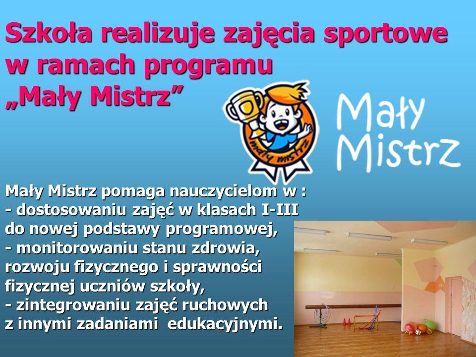 Sport w naszej szkole Aby zachęcić do aktywności uczniów organizowane są lekcje wychowania fizycznego, na które zapraszani są nawet mistrzowie sportu.