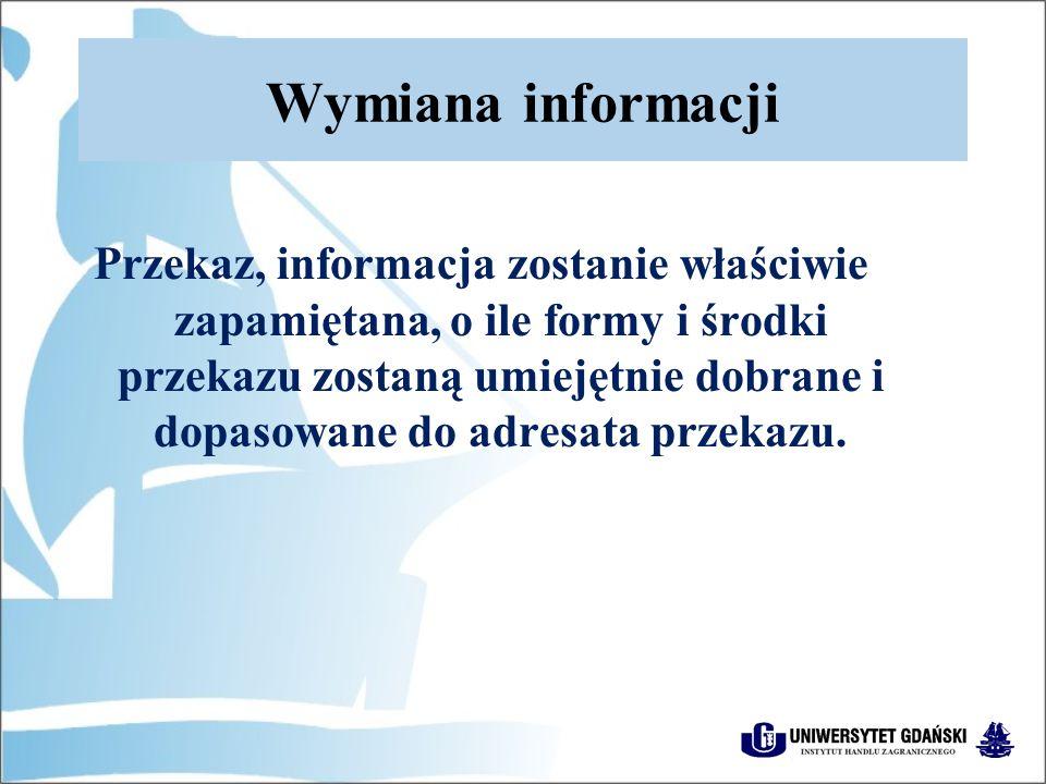 Wymiana informacji Przekaz, informacja zostanie właściwie zapamiętana, o ile formy i środki przekazu zostaną umiejętnie dobrane i dopasowane do adresata przekazu.