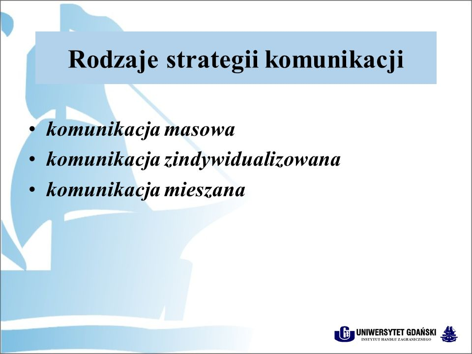 Rodzaje strategii komunikacji komunikacja masowa komunikacja zindywidualizowana komunikacja mieszana