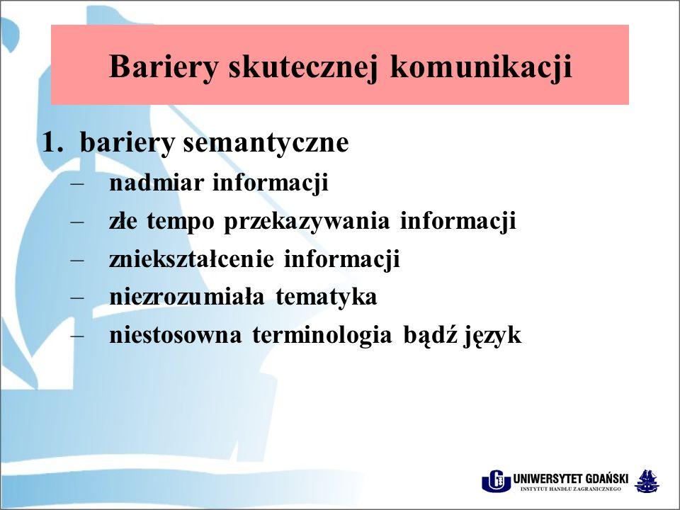 Bariery skutecznej komunikacji 1.bariery semantyczne –nadmiar informacji –złe tempo przekazywania informacji –zniekształcenie informacji –niezrozumiała tematyka –niestosowna terminologia bądź język