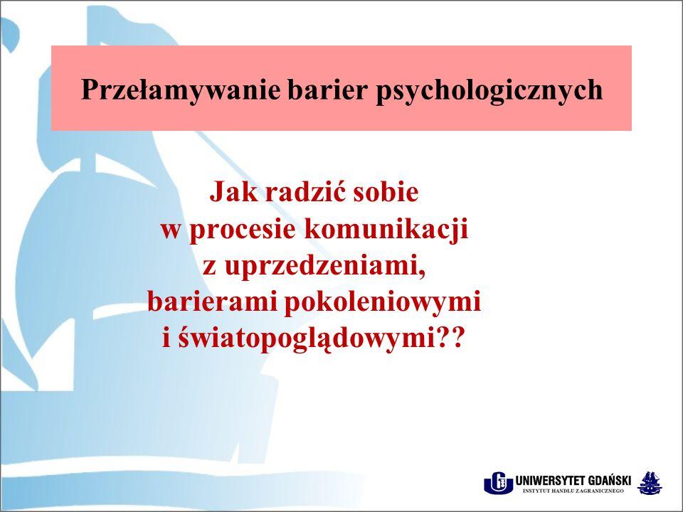 Przełamywanie barier psychologicznych Jak radzić sobie w procesie komunikacji z uprzedzeniami, barierami pokoleniowymi i światopoglądowymi??