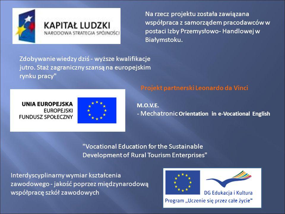 Na rzecz projektu została zawiązana współpraca z samorządem pracodawców w postaci Izby Przemysłowo- Handlowej w Białymstoku. Zdobywanie wiedzy dziś -