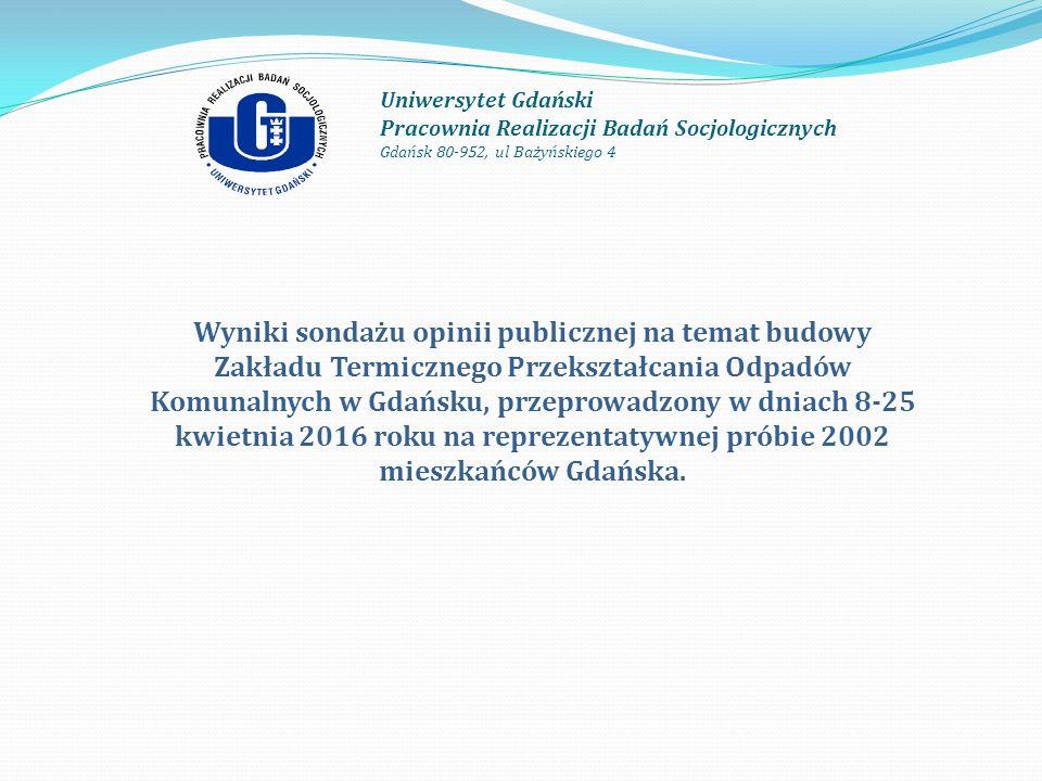 Uniwersytet Gdański Pracownia Realizacji Badań Socjologicznych Gdańsk 80-952, ul Bażyńskiego 4 Wyniki sondażu opinii publicznej na temat budowy Zakładu Termicznego Przekształcania Odpadów Komunalnych w Gdańsku, przeprowadzony w dniach 8-25 kwietnia 2016 roku na reprezentatywnej próbie 2002 mieszkańców Gdańska.