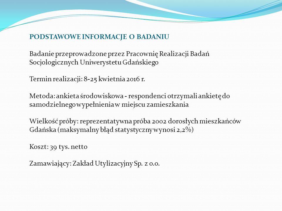 PODSTAWOWE INFORMACJE O BADANIU Badanie przeprowadzone przez Pracownię Realizacji Badań Socjologicznych Uniwerystetu Gdańskiego Termin realizacji: 8-25 kwietnia 2016 r.