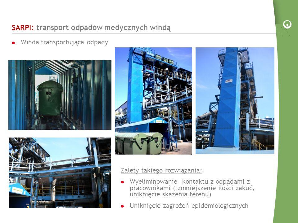 SARPI: transport odpadów medycznych windą Winda transportująca odpady Zalety takiego rozwiązania: Wyeliminowanie kontaktu z odpadami z pracownikami ( zmniejszenie ilości zakuć, uniknięcie skażenia terenu) Uniknięcie zagrożeń epidemiologicznych