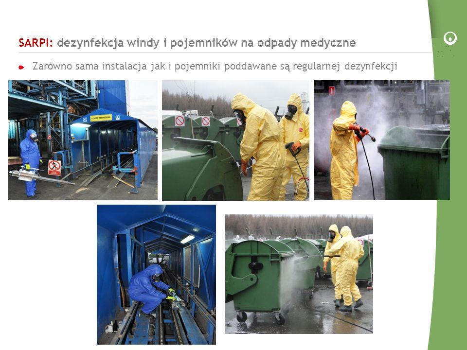SARPI: dezynfekcja windy i pojemników na odpady medyczne Zarówno sama instalacja jak i pojemniki poddawane są regularnej dezynfekcji
