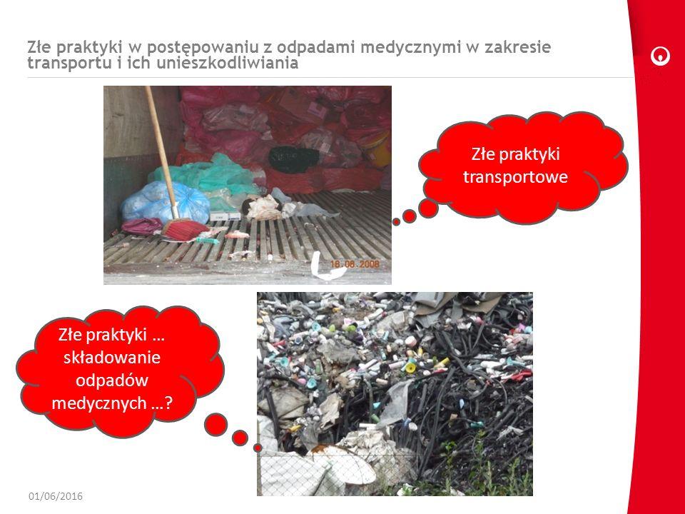 Złe praktyki w postępowaniu z odpadami medycznymi w zakresie transportu i ich unieszkodliwiania 01/06/2016 Złe praktyki transportowe Złe praktyki … składowanie odpadów medycznych …?
