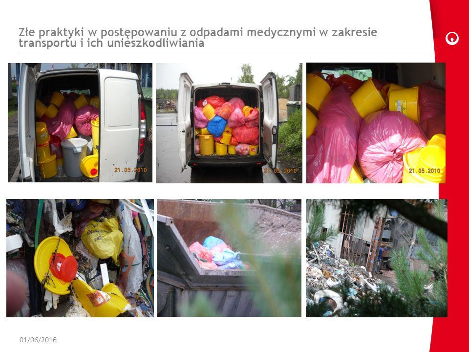 Złe praktyki w postępowaniu z odpadami medycznymi w zakresie transportu i ich unieszkodliwiania 01/06/2016