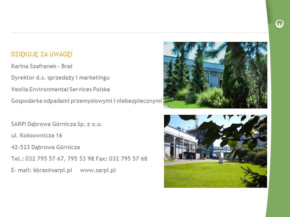 DZIĘKUJĘ ZA UWAGĘ! Karina Szafranek - Braś Dyrektor d.s. sprzedaży i marketingu Veolia Environmental Services Polska Gospodarka odpadami przemysłowymi