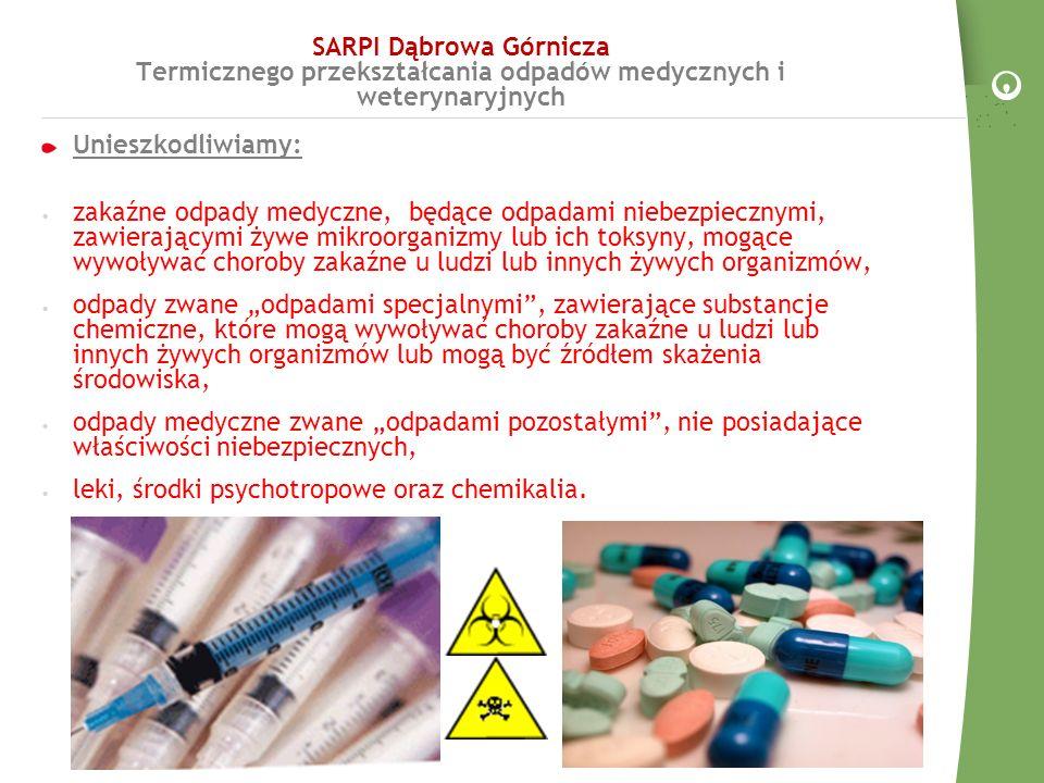 SARPI: przyjmowanie odpadów medycznych do spalania Transport odpadów medycznych do SARPI odbywa się samochodami przeznaczonymi do tego celu odpowiednio oznakowanymi.
