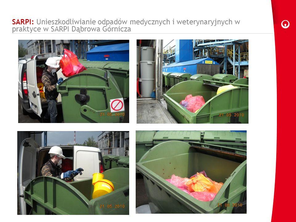 SARPI: rozładunek odpadów medycznych Transport odpadów do miejsca rozładunku Rozładunek odpadów odbywa się bezpośrednio do kontenerów Załadunek kontenerów z odpadami do windy